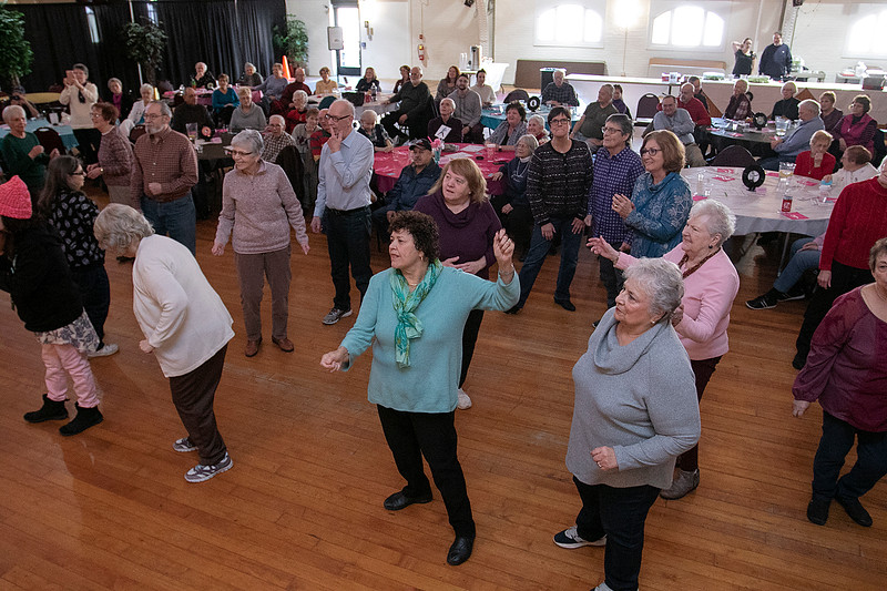Robert Black portraying Elvis entertained the crowd at the Fitchburg Senior Center on Wednesday, Jan 29, 2020 with an hour worth of Elvis songs. Many dance during the performance. SENTINEL & ENTERPRISE/JOHN LOVE
