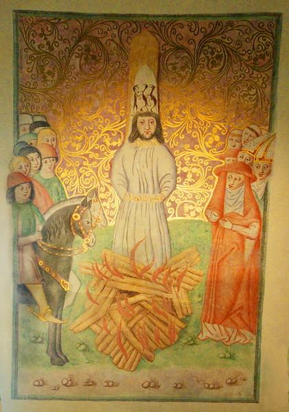 Prague - painting of John Huss in the flames; Bethlehem Chapel