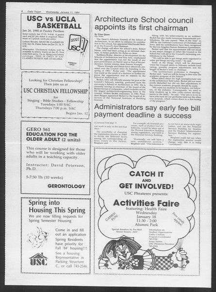 Daily Trojan, Vol. 95, No. 2, January 11, 1984
