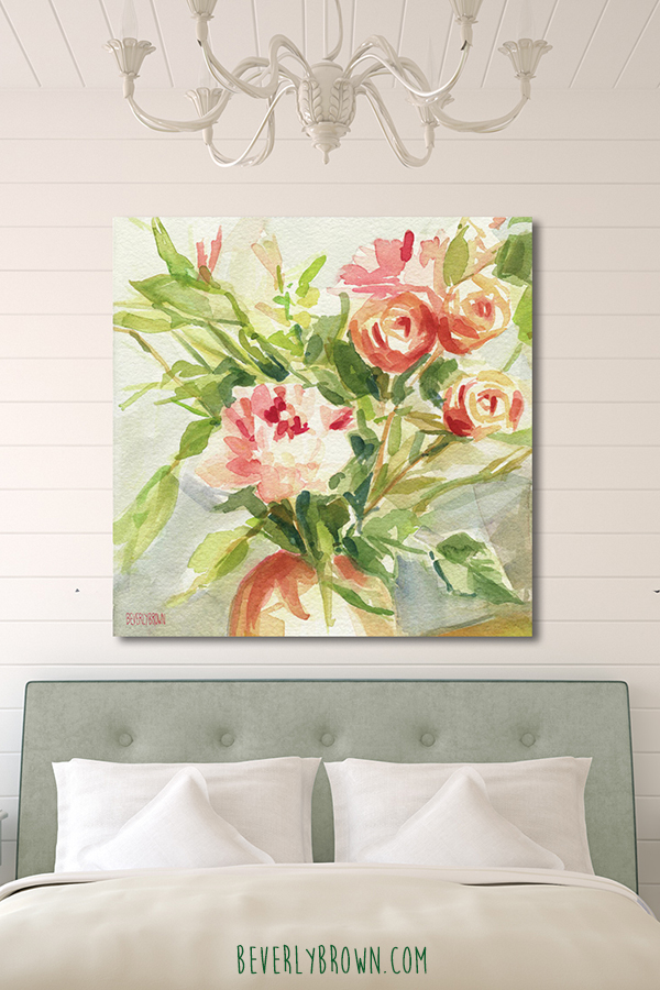 Cottage Neutral and Green Feminine Bedroom with Peach Roses Artwork