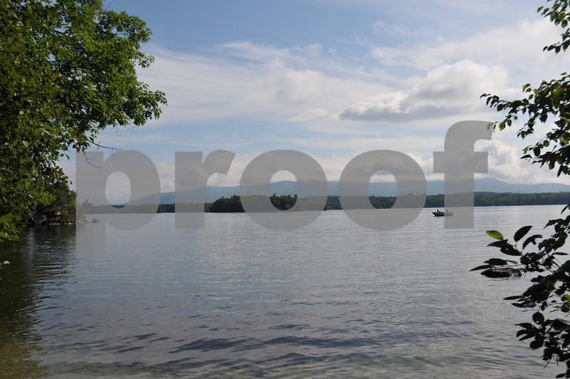Lake Winnipesaukee with fishing boat
