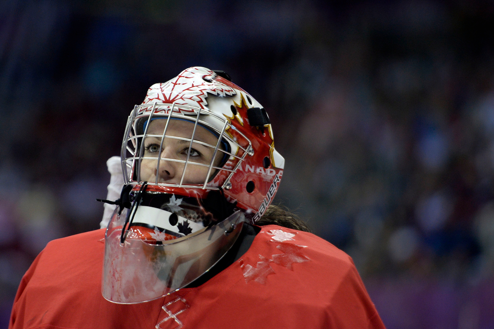 . Shannon Szabados (1) of the Canada takes a breather against the U.S.A. during the first period of the women\'s gold medal ice hockey game. Sochi 2014 Winter Olympics on Thursday, February 20, 2014 at Bolshoy Ice Arena. (Photo by AAron Ontiveroz/ The Denver Post)