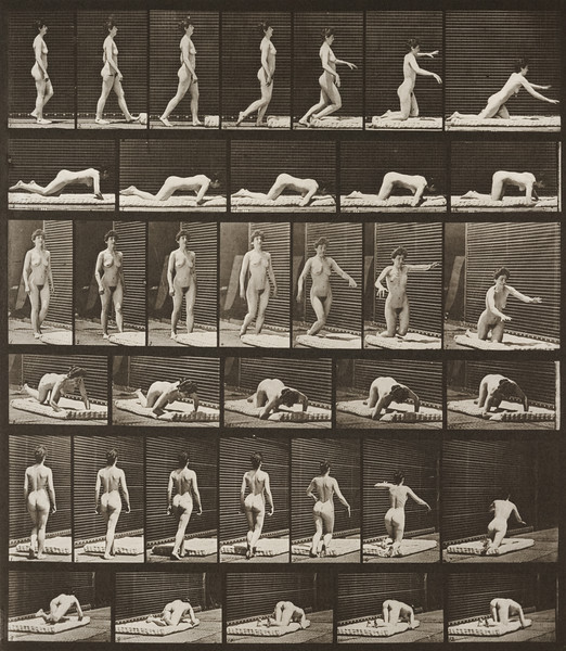 Nude woman stumbling and falling on the ground (Animal Locomotion, 1887, plate 272)