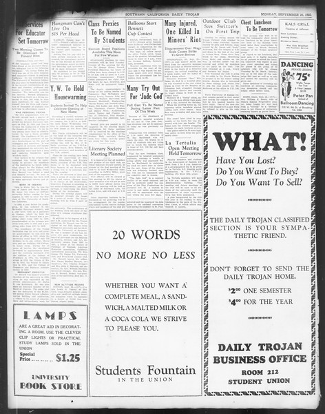 Daily Trojan, Vol. 24, No. 12, September 26, 1932