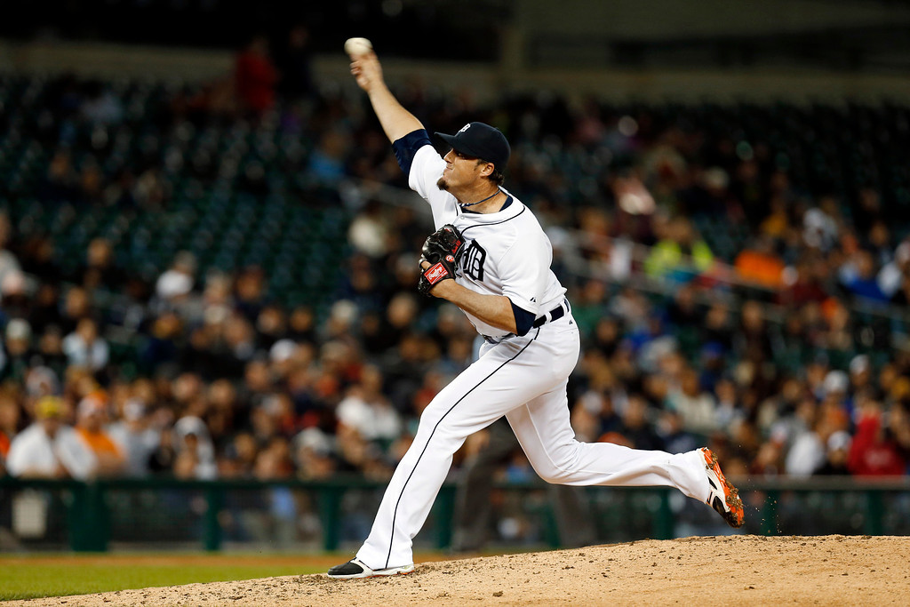 . Detroit Tigers relief pitcher Joe Nathan throws against the Houston Astros in the ninth inning of a baseball game in Detroit, Wednesday, May 7, 2014. Detroit won 3-2. (AP Photo/Paul Sancya)