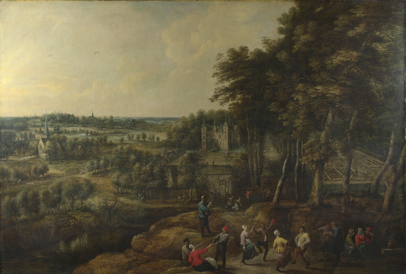 Peasants merry-making before a Country House