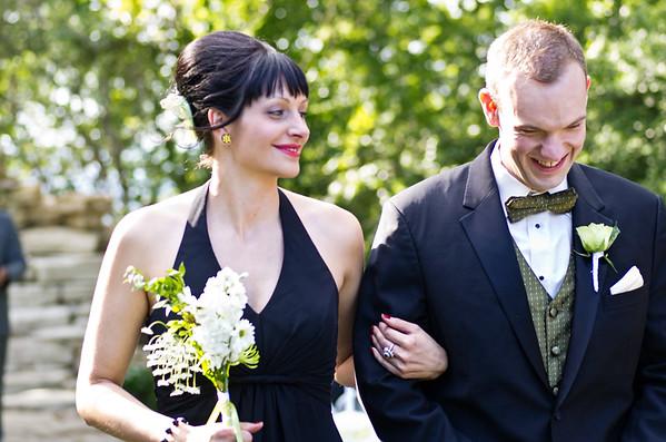Wedding party participants share a laugh