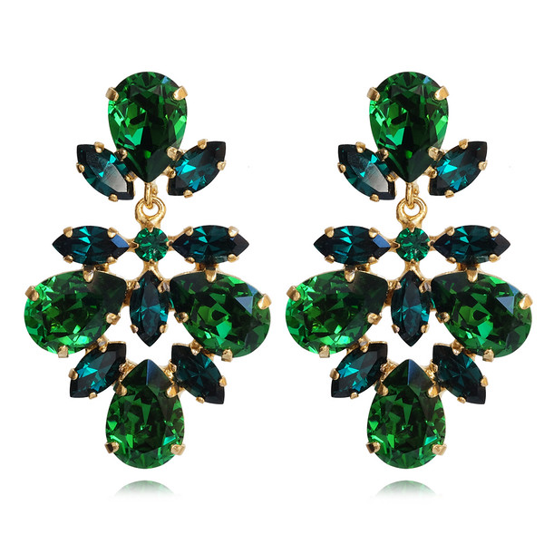 Selene Earrings / Dark Moss Green + Emerald / Gold