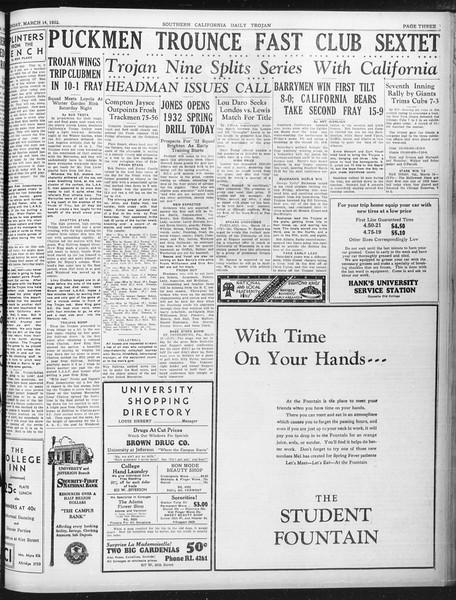 Daily Trojan, Vol. 23, No. 107, March 14, 1932