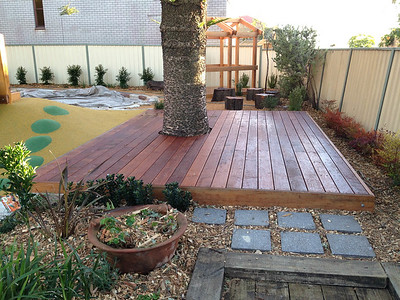 timber deck around tree