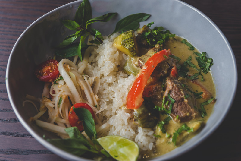 Thai Yellow Curry with Sticky Rice and Papaya Salad