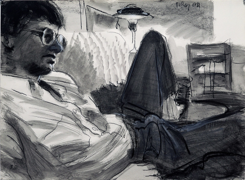 Reclining man; charcoal and wash on unprimed paper, 22 x 30 in, 1994