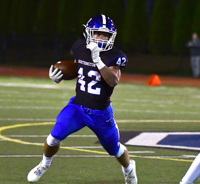 10/11/2019 Mike Orazzi   Staff Southington's Dillon Kohl (42) during Friday night's football game with Manchester in Southington.