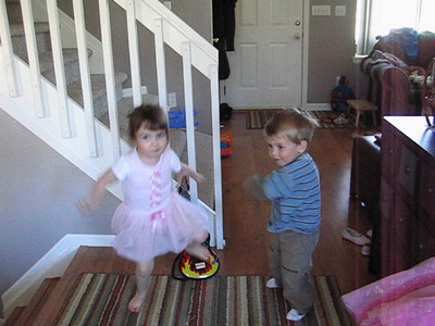Emma and Grace's house 2008 goofing around