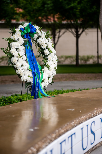 A wreath was placed in front of the O'Connor Building to honor the memory of those Islanders we have lost in years past while they were enrolled at the Island University.