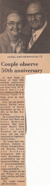 Newspaper Clipping - Hazel & Herman Saltz - 50th Wedding Anniversary - October 1981.jpg