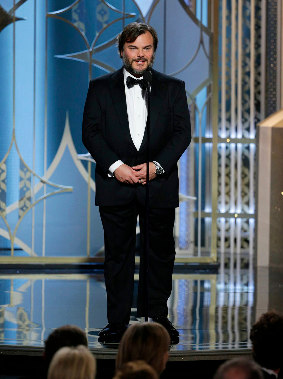 . In this image released by NBC, Jack Black speaks at the 72nd Annual Golden Globe Awards on Sunday, Jan. 11, 2015, at the Beverly Hilton Hotel in Beverly Hills, Calif. (AP Photo/NBC, Paul Drinkwater)