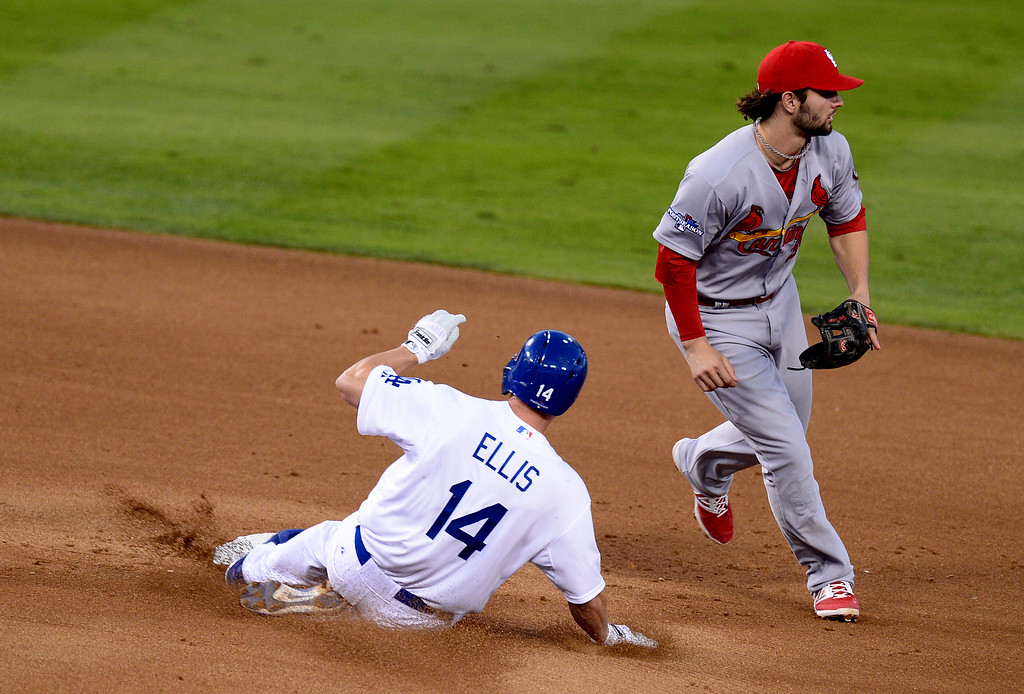 . Dodger Mark Ellis slides in to 2nd base  during game 3 of the NLCS at Dodger Stadium Monday, October 14, 2013. The Dodgers beat the Cardinals 3-0. (Photo by Sarah Reingewirtz/Los Angeles Daily News)