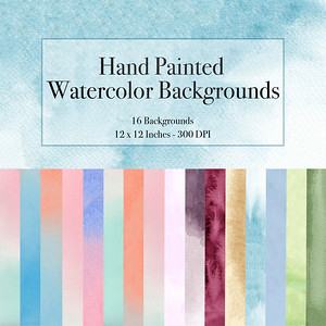 16 Hand Painted  Backgrounds $6