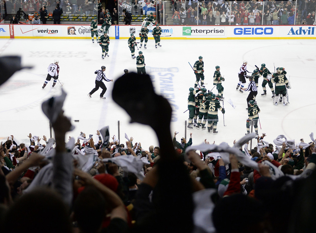 . Time expired after the third period and the Minnesota Wild defeated the Colorado Avalanche 2-1 Thursday night April 24, 2014 at the Xcel Energy Center in St. Paul. The series is now knotted up a two games apiece. (Photo by Karl Gehring/The Denver Post)