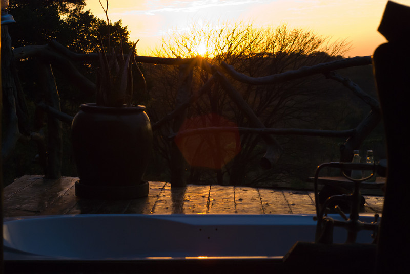 Mbalageti sunrise from our chalet. Yes, that's a bathtub on our deck.