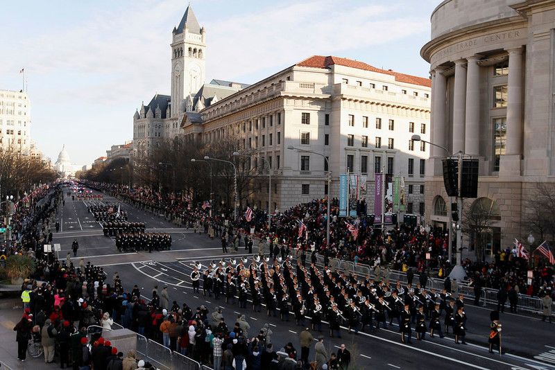 . The 57th Presidential Inaugural Parade rolls down Pennsylvania Avenue from Capitol Hill in Washington, Monday, Jan. 21, 2013, after President Barack Obama\'s ceremonial swearing-in ceremony during the 57th Presidential Inauguration. (AP Photo/Alex Brandon)