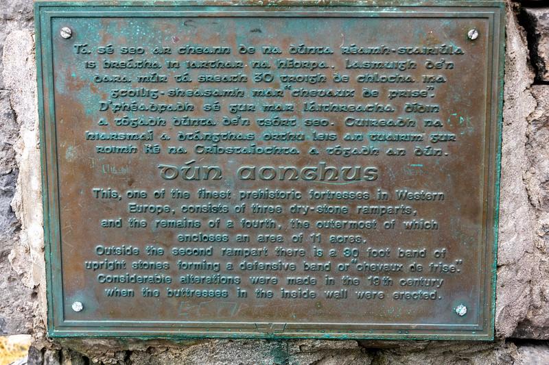 Close-up of memorial plaque, Prehistoric fort of Dun Aonghasa, Kilronan, Inishmore, Aran Islands, County Galway, Republic of Ireland