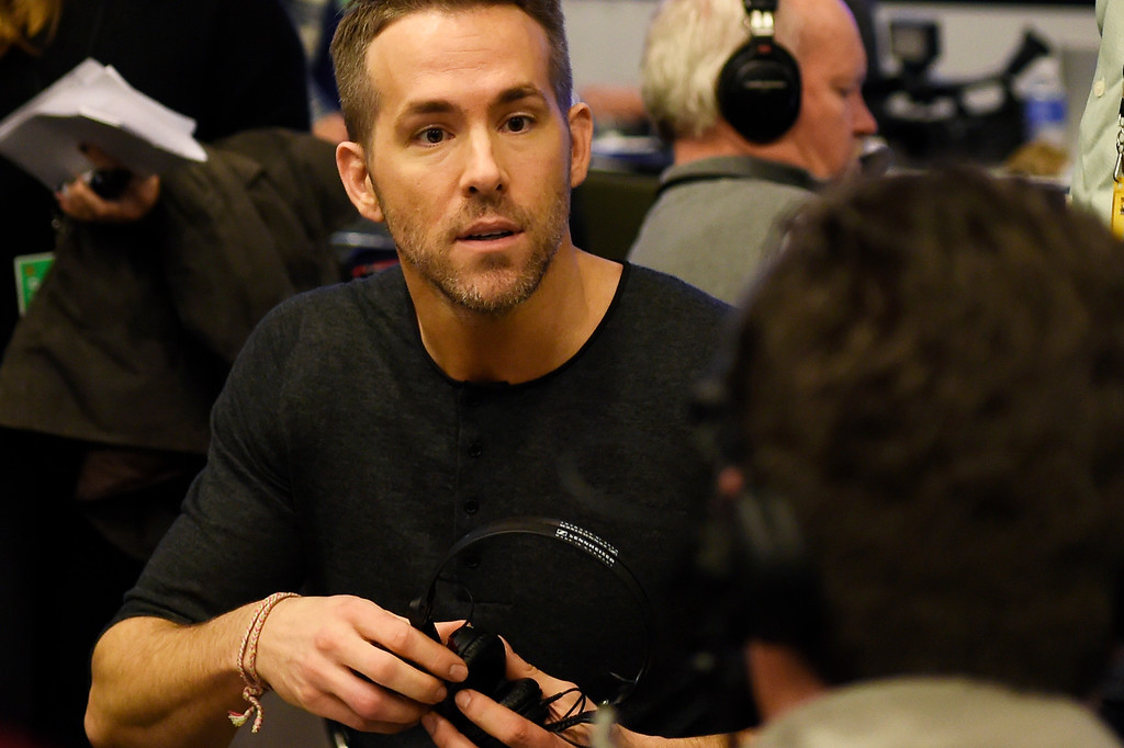 . SAN FRANCISCO, CA - FEBRUARY 05: Actor Ryan Reynolds doing interviews on Radio Row at the Moscone Center in downtown San Francisco, CA. February 05, 2016 (Photo by Joe Amon/The Denver Post)