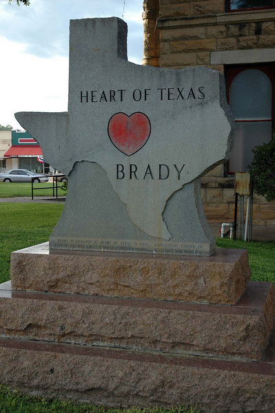 "We've been off of I-10 for a few hours and lots of miles. Now we're in Brady, the geographical heart of Texas. The bottom of the monument reads: ""Brady designated as heart of Texas in 1923. Geographic center of Texas in McCullogh County, 20 miles North 14 1/2 degrees East of this point."""