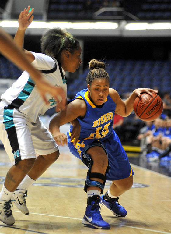 . Bishop Amat\'s Leeah Powell (#15) drive the ball as they play Canyon Springs in the CIF-SS Division 1A girls basketball finals at the Anaheim Arena on Friday March 1, 2013. Canyon Springs beat Bishop Amat 48-46. (SGVN/Staff Photo by Keith Durflinger)