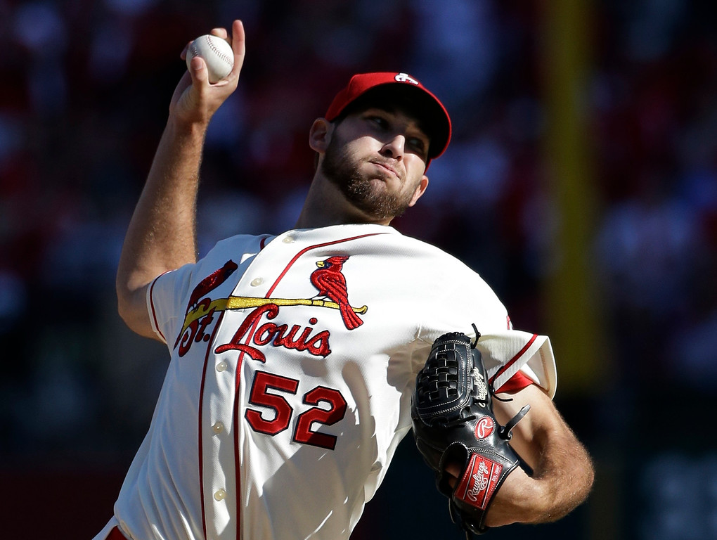 . St. Louis Cardinals starting pitcher Michael Wacha throws during the first inning of Game 2 of the National League baseball championship series against the Los Angeles Dodgers Saturday, Oct. 12, 2013, in St. Louis. (AP Photo/David J. Phillip)