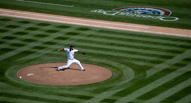 . DENVER, CO. - APRIL 04: Jaun Nicasio pitching during the forth inning of the Colorado Rockies home opener against the Arizona Diamondbacks at Coors Field in Denver, CO April 04, 2014. (Photo By Craig F. Walker / The Denver Post)