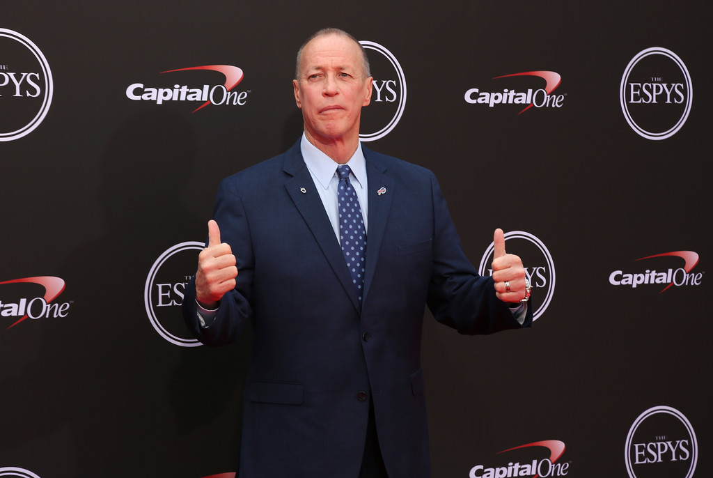 . Former NFL quarterback Jim Kelly arrives at the ESPY Awards at Microsoft Theater on Wednesday, July 18, 2018, in Los Angeles. (Photo by Willy Sanjuan/Invision/AP)