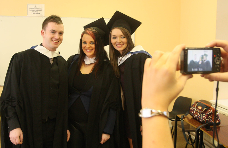 Pictured are Joseph Murphy, Bunclody, Co. Wexford, Megan White, Waterford, Laura King, Dunmore East, Co Waterford who graduated Bachelor of Arts in Legal Studies Studies. Picture: Patrick Browne.. Picture: Patrick Browne.
