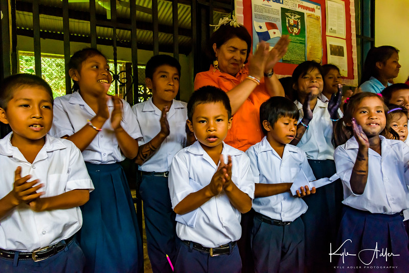 Sharing songs and dances with the Embera schoolchildren.