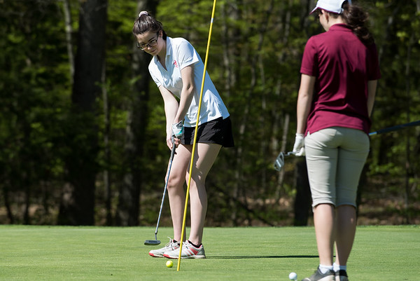 05/8/19 Wesley Bunnell | Staff Berlin girls golf defeated New Britain at Timberlin Golf Course on Wednesday afternoon. Berlin's Bridgett McQuillan with a short putt.