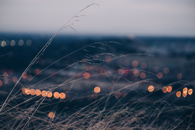 Bokeh below the hills