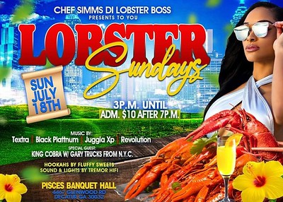LOBSTER SUNDAYS @PISCES BANQUET HALL JULY 18th 2021
