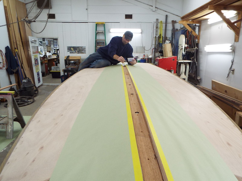 Applying epoxy to the area for the keel cap.