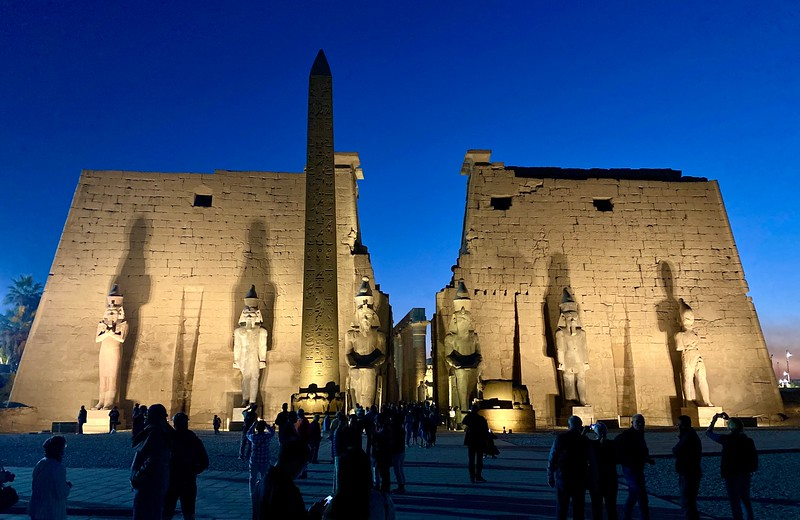 Luxor Temple complex is located on the east bank of the Nile River and was constructed approximately 1400 BCE.