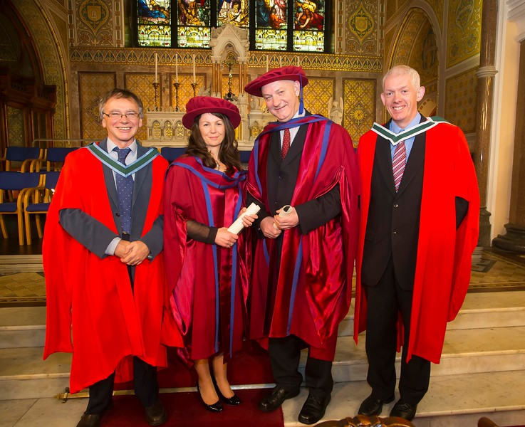 06/01/2015. FREE TO USE IMAGE. WIT (Waterford Institute of Technology) Conferring. Pictured is Angela Horgan-Goff, Waterford and Brother Ben Hanlon, De La Salle, Waterford who were conferred a Doctor of Philosophy, also pictured are Prof Willie Donnelly WIT and Dr. Richard Hayes.  Picture: Patrick Browne