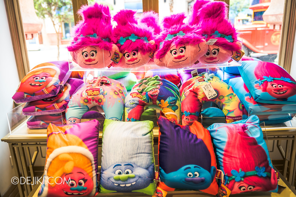 Universal Studios Singapore Park Update March 2018 TrollsTopia event - Troll movie merchandise cushions