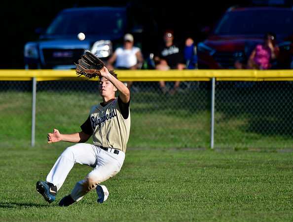 7/9/2019 Mike Orazzi | Staff Edgewood's Rayn Fradette (5) makes a sliding catch during Tuesday night's Senior Little League Baseball with Stamford in Bristol.