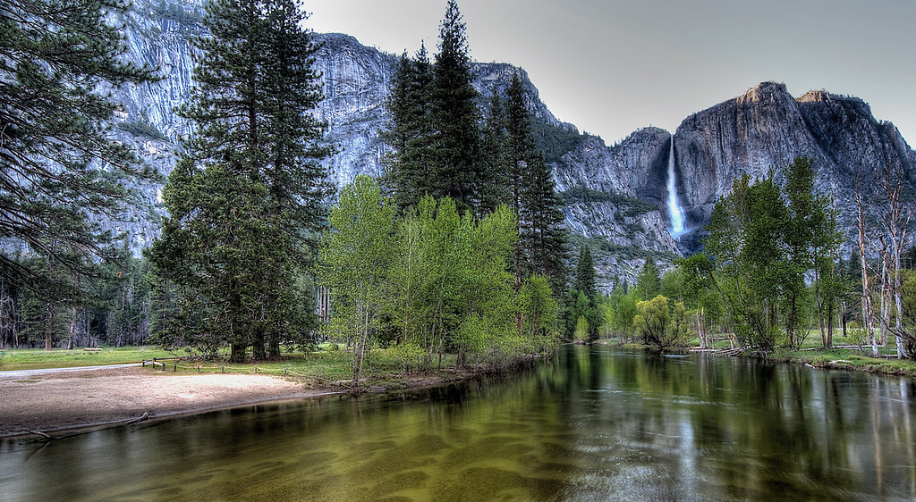 Yosemite Falls from Merced River bridge