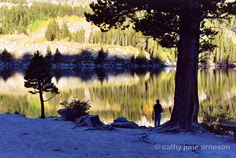 Mike fishing Friday morning at Rock Creek Lake, CA.