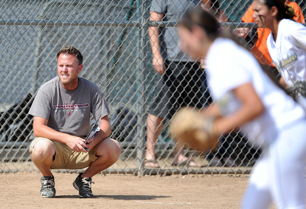 . Barstow head coach Richard Johannsen in the sixth inning of a CIF-SS quarterfinal playoff softball game against Northview at Northview High School on Thursday, May 23, 2013 in Covina, Calif. Northview won 5-4.  (Keith Birmingham Pasadena Star-News)