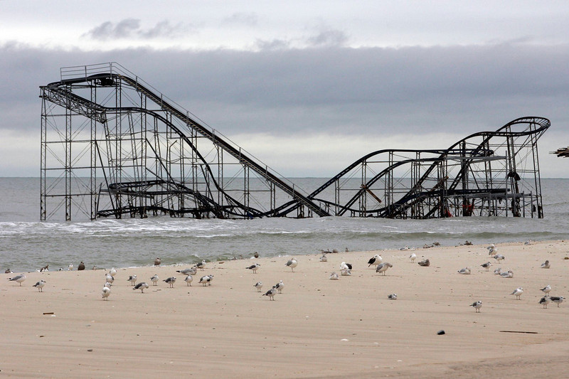 ". The extensive damage to an amusement park roller coaster in the aftermath of Hurricane Sandy is seen in Seaside Heights, New Jersey, November 13, 2012. Residents of New York and New Jersey were told to prepare for a long recovery from Superstorm Sandy, as thousands of people grappled with cleaning up their properties, the extended lack of electricity and gasoline shortages nine days after the storm. ""Hurricane Sandy\"" was Google\'s number one most searched trending event of 2012. REUTERS/Tom Mihalek"