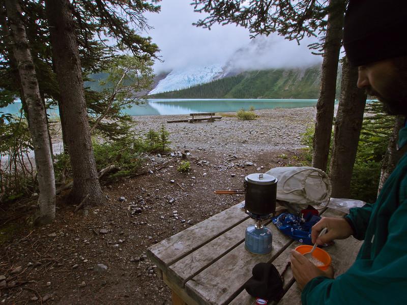 Breakfast at Marmot campsite