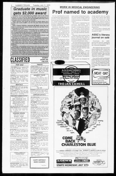 Summer Trojan, Vol. 65, No. 9, July 11, 1972