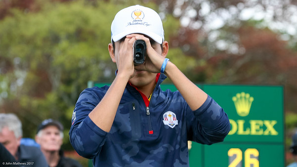 Sean Maruyama from Japan on the 1st tee on the 2nd day of competition  in the Asia-Pacific Amateur Championship tournament 2017 held at Royal Wellington Golf Club, in Heretaunga, Upper Hutt, New Zealand from 26 - 29 October 2017. Copyright John Mathews 2017.   www.megasportmedia.co.nz